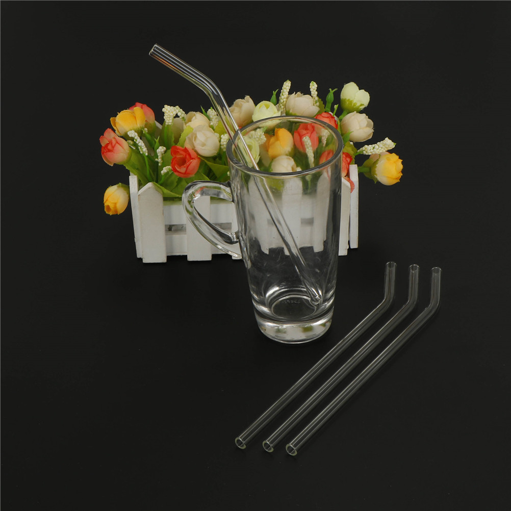 Cleaning Brush Clear 4Pcs Reusable Straight Glass Tube Drinking Straw Sucker