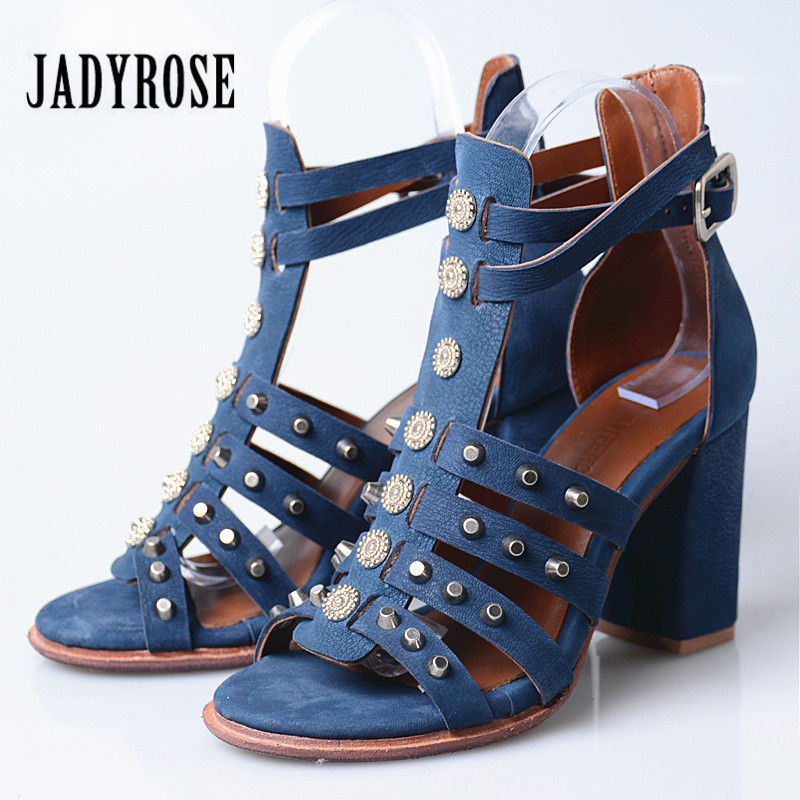 Jady Rose Rivets Studded Women Gladiator Sandals Chunky High Heel Shoes Woman Genuine Leather Women Pumps Sandalias Mujer prova perfetto rivets studded women gladiator sandals narrow band hollow chunky high heel women shoes real leather pumps sandals