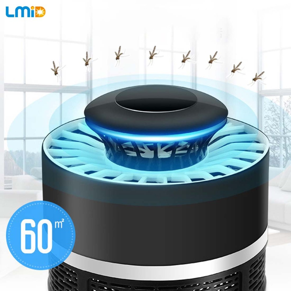 LMID Electronics Mosquito Killer Trap Moth Zapper EU US Plug Fly Wasp Led Night Lamp Bug Insect Light Black moskito Killing Pest