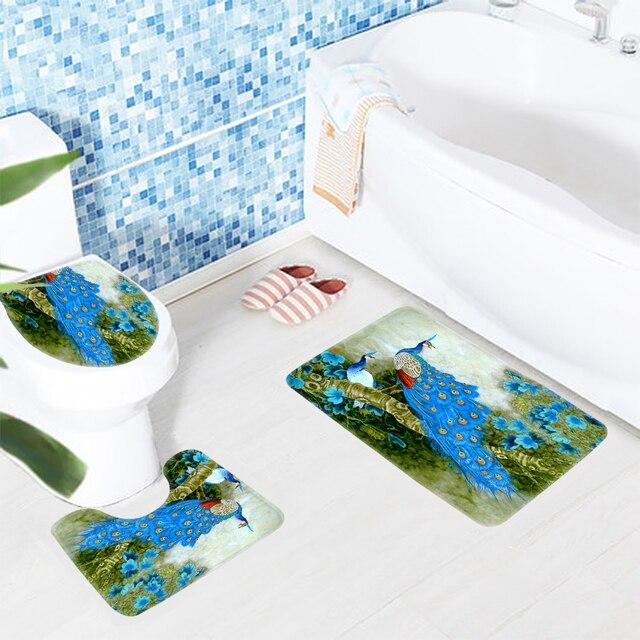 3pcs Bath Rug Set Peacock Awesome Blue Peacock Drawing Pattern Bathroom Mat  Anti Slip Shower Mat