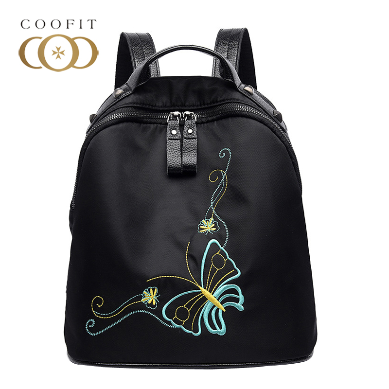 Coofit Cute Butterfly Embroidery School Backpack For Girls Youth Fashion Oxford Small Bagpack Women Female Satchels
