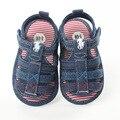 2017 de Moda de Verano Zapatos de Bebé Inferiores Suaves Sandalias Del Muchacho Primer Paso Denim Rayado antideslizante Zapatos Paso YD224