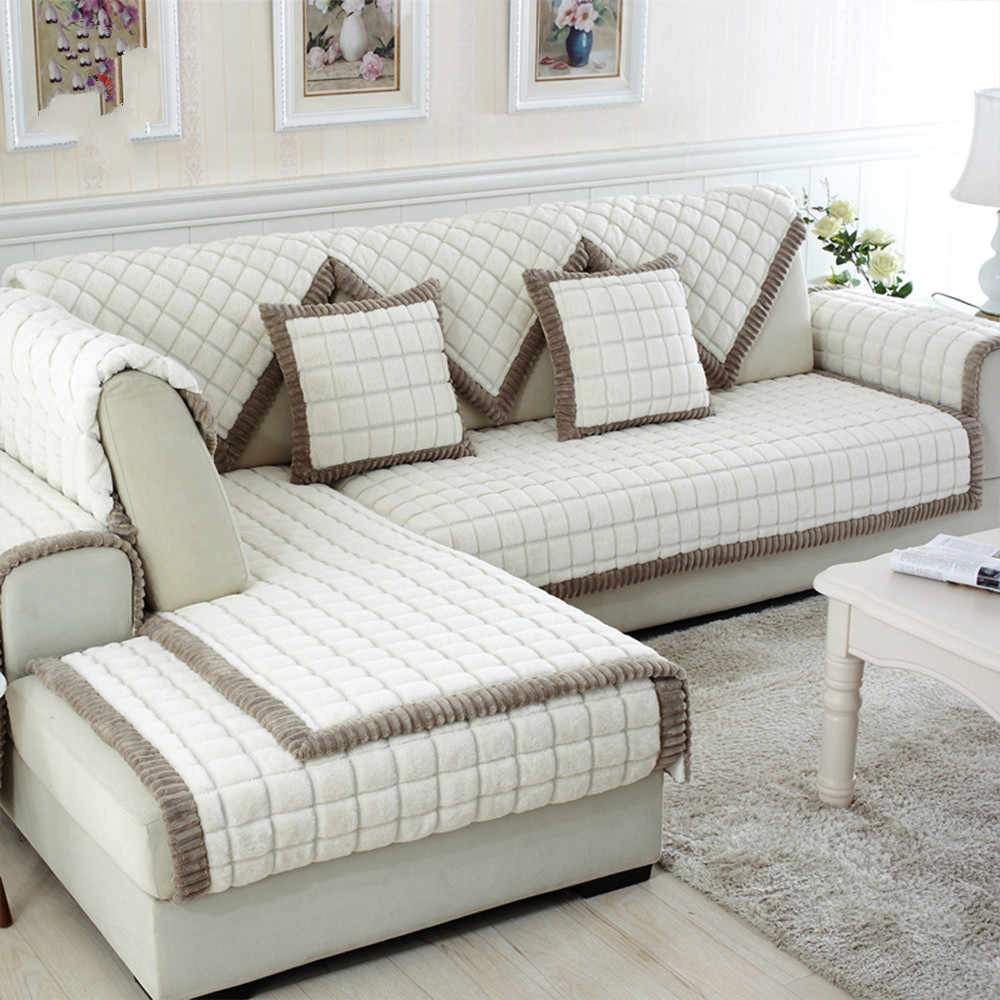 Groovy White Grey Plaid Sofa Cover Plush Long Fur Slipcovers Fundas Alphanode Cool Chair Designs And Ideas Alphanodeonline