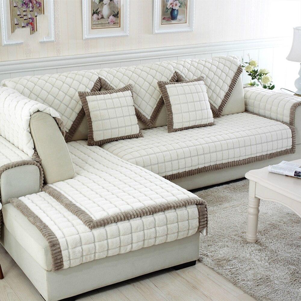 White grey plaid sofa cover plush long fur slipcovers