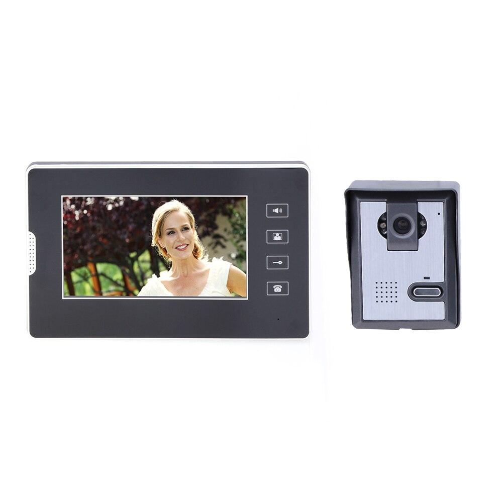7 Inch Colour TFT-LCD Monitor Video Door Phone Intercom System Door Release Unlock Doorbell Camera MFBS 7 inch tft lcd monitor colour video door phone doorbell home intercom system 1v4