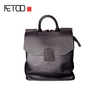 AETOO Leather Small Backpack Female New Soft Tide Package Personality European And American First Layer Of