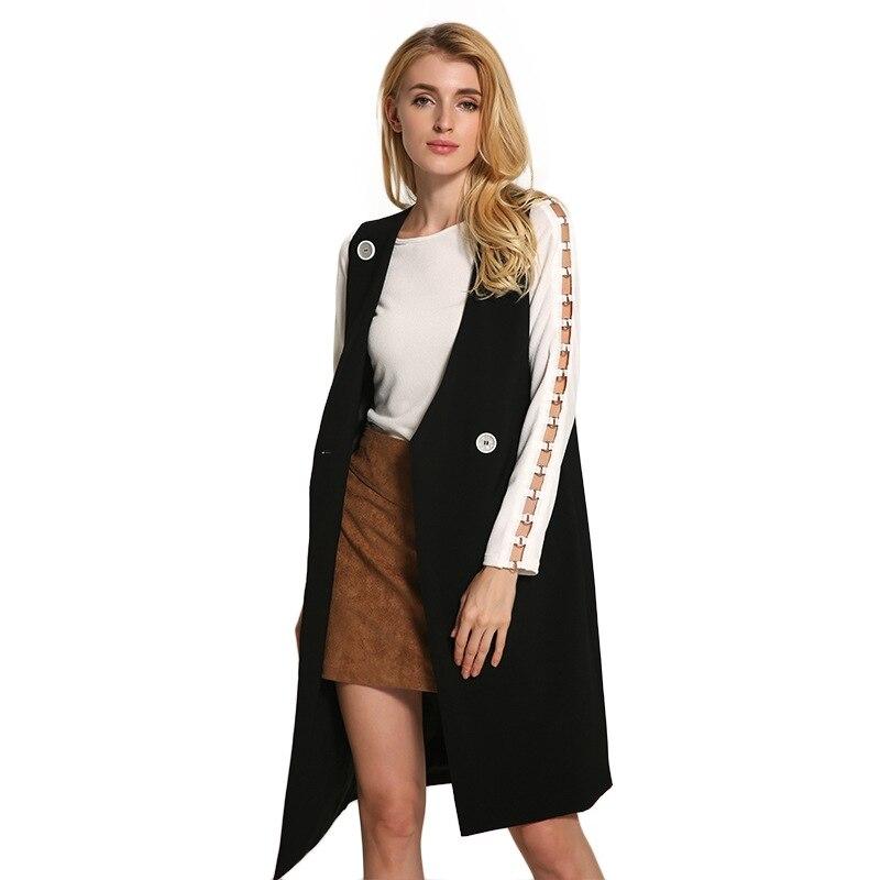 2016 Asymmetric suit longer section vest style Overcoat Women Jacket Woven suit collar vest style