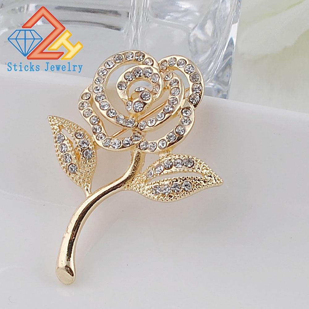 holesale! Fashion rhinestone crystal vintage Bridal Flower rose brooches pin/scarf buckle for wedding! Free shipping