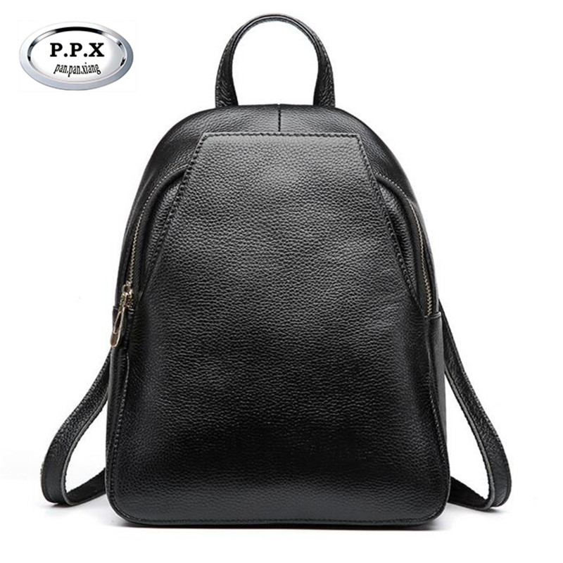 P.P.X Simple Joker Backpack 100% Genuine Leather Women Travel Bag Hot Sale Korean Small Backpack Fashion Mochilas Feminina M523 hot sale women s backpack the oil wax of cowhide leather backpack women casual gentlewoman small bags genuine leather school bag