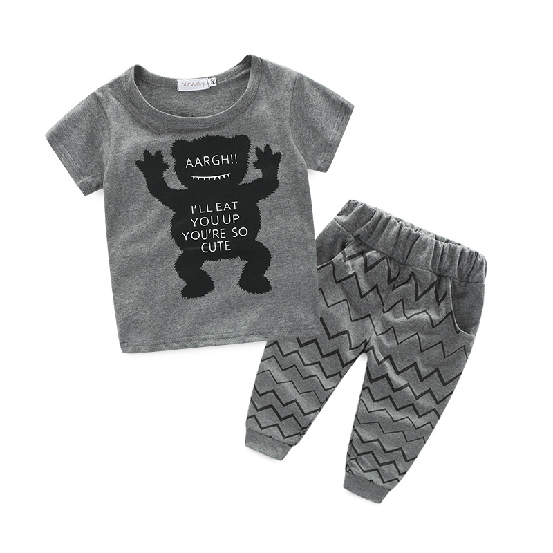 summer style Baby Short sleeve pants 2pcs Cotton boy girl toddler set Little monster sport suit newborn clothes infant clothing