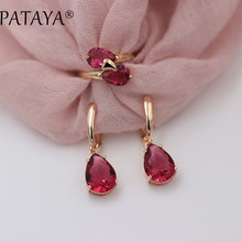 PATAYA New 585 Rose Gold Romantic Wedding Party Jewelry Sets Rose Water Drop Natural Zircon Earrings Ring Set Exclusive Design(China)