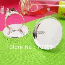 ¡Envío gratis! 100 unids/lote 25mm anillo Chapado en plata bandeja en blanco base de anillo hallazgos de joyería