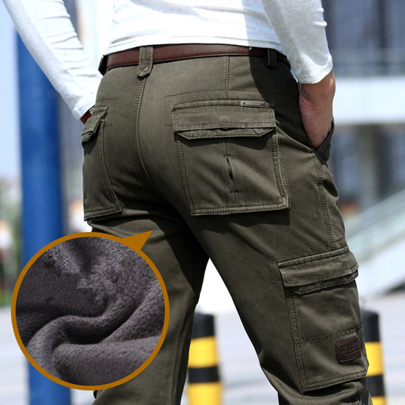 2017 Fleece Warm Winter Cargo Pants Men Casual longgar Multi-pocket Lelaki Pakaian Army Green Green Khaki Tentera 237