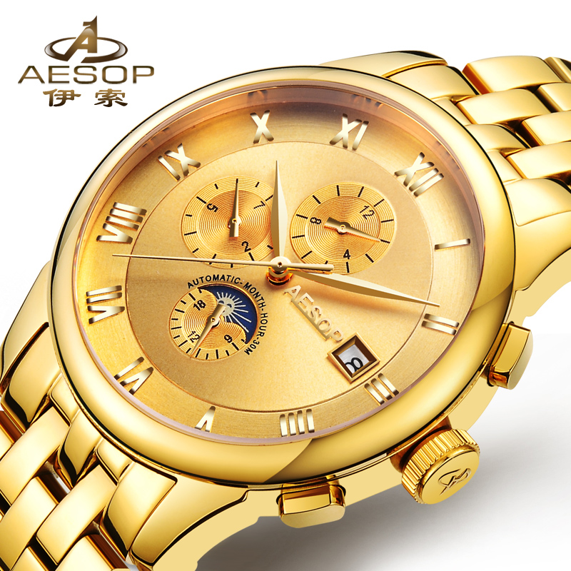 Aesop Mens Watches Top Brand Luxury Business Automatic Mechanical Gold Watch Men Full Steel Fashion Waterproof Sport Clock 2018 cadisen automatic mechanical mens watches top brand luxury full steel watch men business waterproof fashion male clock rose gold