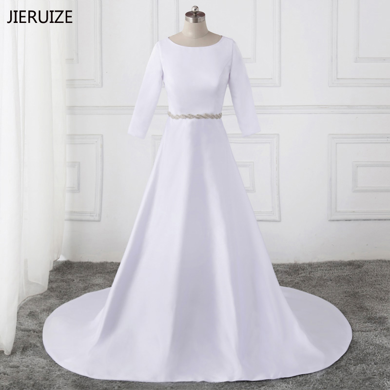 JIERUIZE White Satin Muslim Wedding Dresses 3 4 Sleeves Simple Bridal Dresses Elegant Wedding Gowns robe