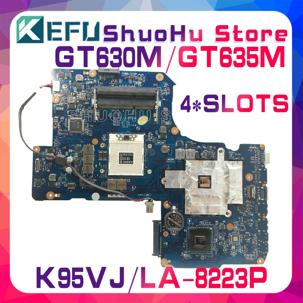 KEFU For ASUS QCL90 LA-8223P 4SLOTS K95VJ K95VM K95VB K95V GT630M/GT635M Laptop Motherboard Tested 100% Work Original Mainboard