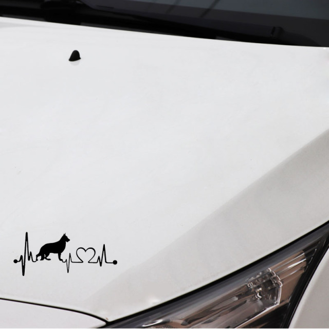 YJZT 16.3CM*7CM German Shepherd Heartbeat Dog Vinyl Black/Silver Car Sticker C22-1174
