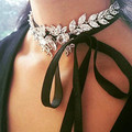 Luxury rhinestone crystal leafs tied up lace up choker necklace for women wedding party jewelry charm collars femme