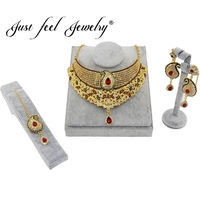 JUST FEEL India Cubic Zirconia Jewelry Sets For Women Gold Color Crystal Charms Wedding Gifts Necklace Earrings Headdress Sets