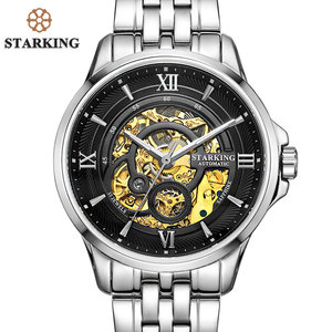 Image 3 - STARKING Men Skeleton Automatic Mechanical Watches Luxury Famous Brand Stainless Steel Sapphire Black Wrist Watch Urdu AM0182