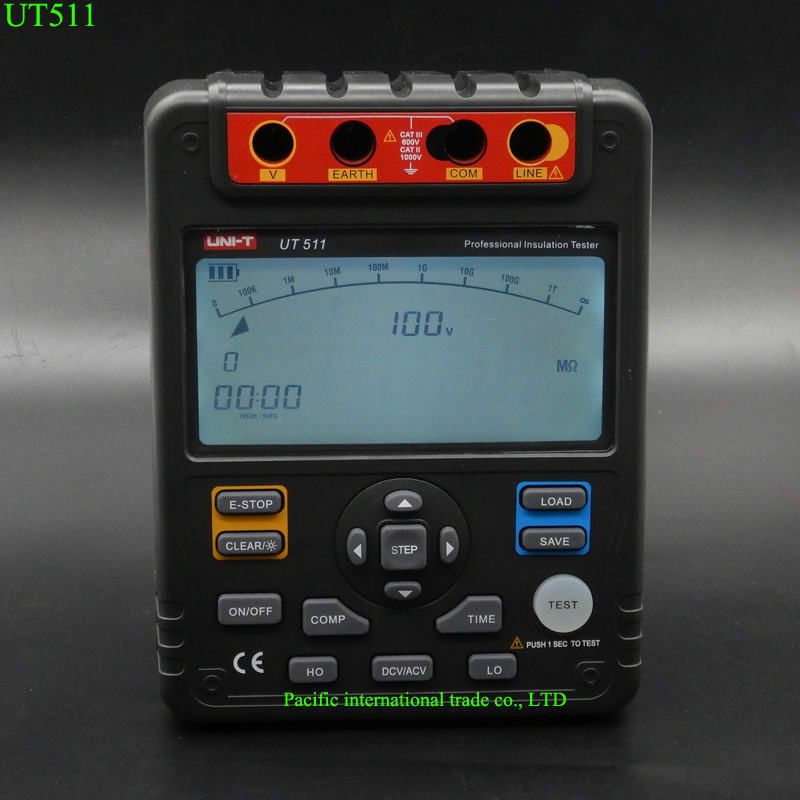UNI-T UT511 Digital Insulation Resistance Test Meter Megohmmeter Ohmmeter Voltmeter Auto Range 1000V LCD Backlight with TOOLBOX  uni t ut501a megger insulation resistance tester digital megohmmeter with test voltage range 250v 500v 1000v