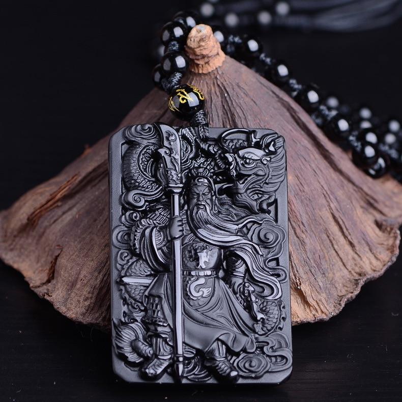 HTB1nNPqiZnI8KJjSsziq6z8QpXaU QIANXU Black Obsidian Buddha Necklace Pendant Guan Yun Dragon Jade Pendant Jade Jewelry Fine Jewelry