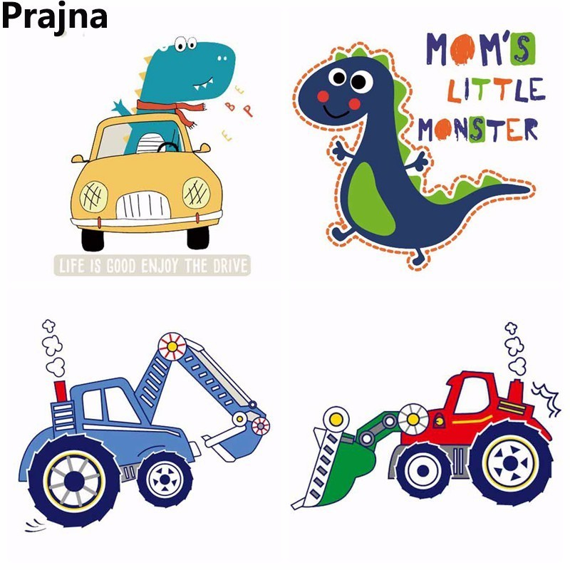 Prajña Warmteoverdracht Vinyl Pvc Badge Thermische Transfer Iron On Transfers Voor Kleding Printable Auto Tractor Dinosaurus Patch Strepen Heilzaam Voor Het Sperma