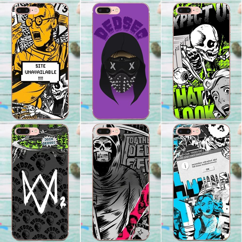 For Apple iPhone 4 4S 5 5C 5S SE 6 6S 7 8 Plus X XS Max XR Soft Phone Skin Watch Dogs 2 Dedsec image