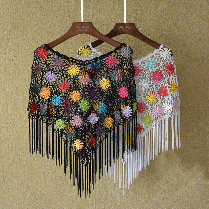 2016 Empat musim Renda Kait Bunga Berongga Selendang Capelet Crochet - Aksesori pakaian - Foto 3