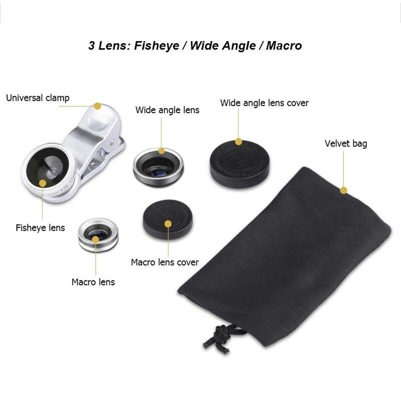 For Samsung GALAXY T399 Note edge e5 e7 fisheye macro wide angle 3 in 1 universal clip metal + glass phone camera lenses