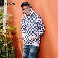 VIISHOW Pullover Plaid Long Sleeve Hoodies Shirts Mens Hip Hop Printed Zipper Pocket Casual Shirts Fashion