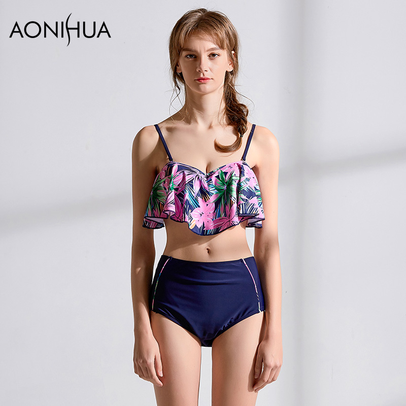 AONIHUA Women Bikini Swimwear BeachShiny Sexy high Cut Crop Top Two Piece