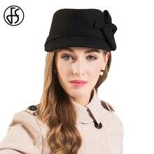 FS Wide Brim Fedora Hats For Women Vintage Black 100% Wool Felt Hat Fashion Ladies Bowknot Trilby Bowler Cap Chapeu Feminino