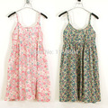 Nova Verão 2016 Moda feminina vestidos de algodão Fino dot suspensórios vestido floral impresso casual dress tanque Halter top 23-43color
