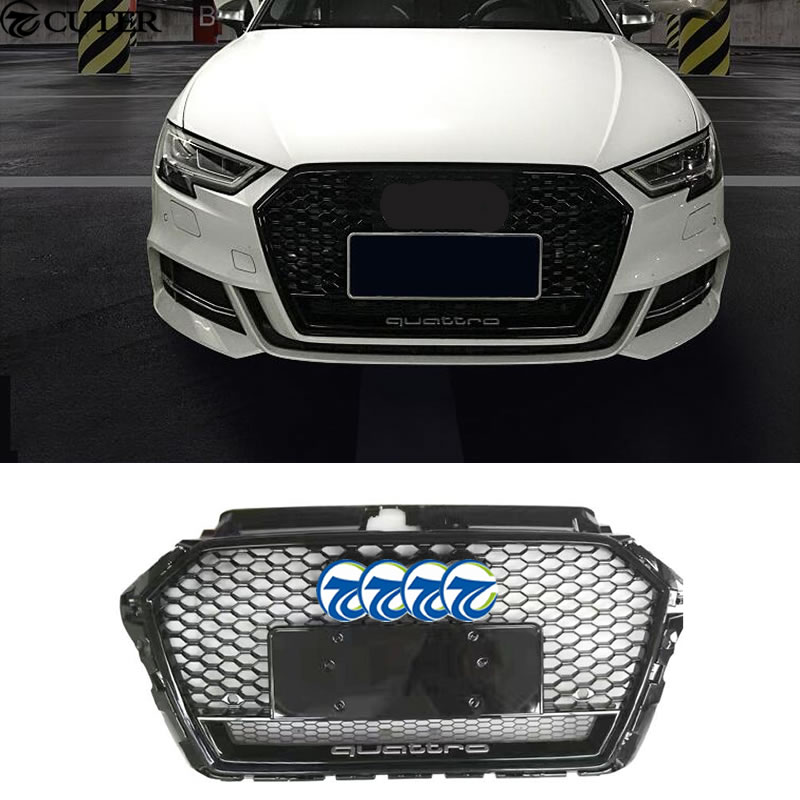 A3 RS3 with logo Racing Grills ABS Honeycomb Grill for Audi A3 RS3 quattro grill front bumper 2017