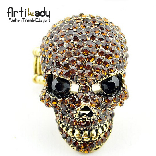 holiday sale Artilady C2906 hip pop punk skull adjustable ring 8colors hot sell 2014 new desgin gift
