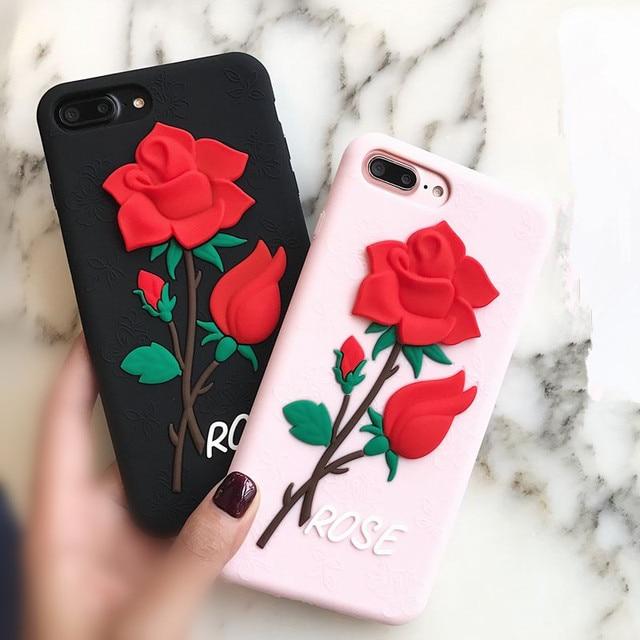 coque iphone 7 silicone rose fleur