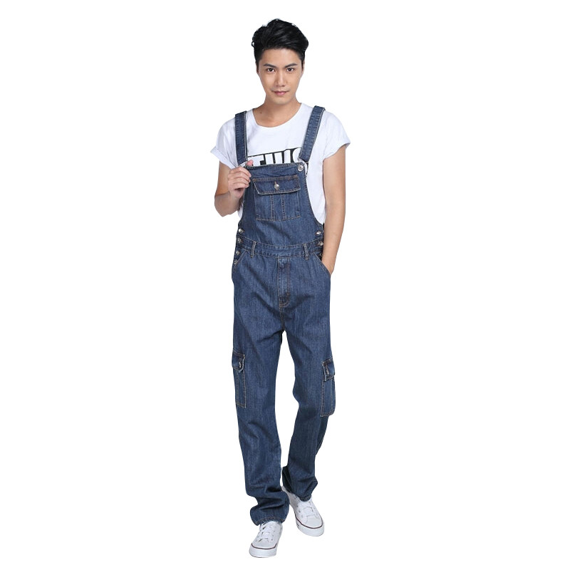 New Fashion Designer Plus Size S-5XL Mens Denim Bib Overalls Blue Loose Baggy Washed Vintage Jean Jumpsuit For Male new mens skinny jean overalls blue suspenders multi pocket bib pants holes denim trousers size m 2xl