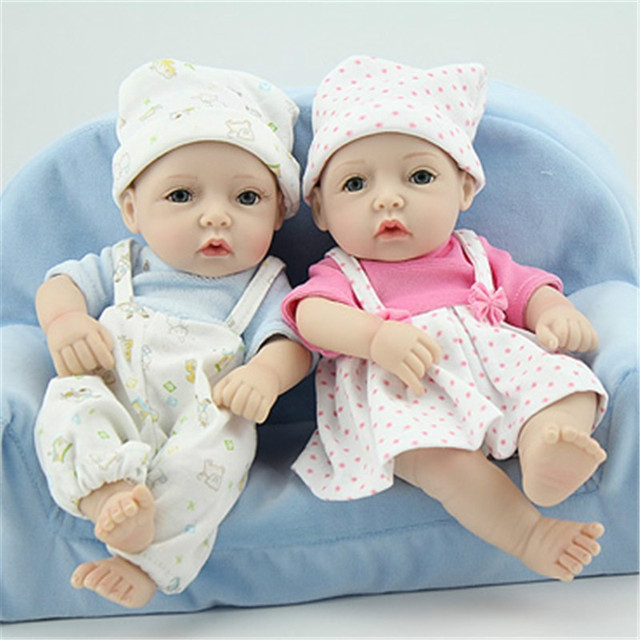 Sgdoll 2017 new 11 lifelike boy girl twins infant baby dolls silicone mini
