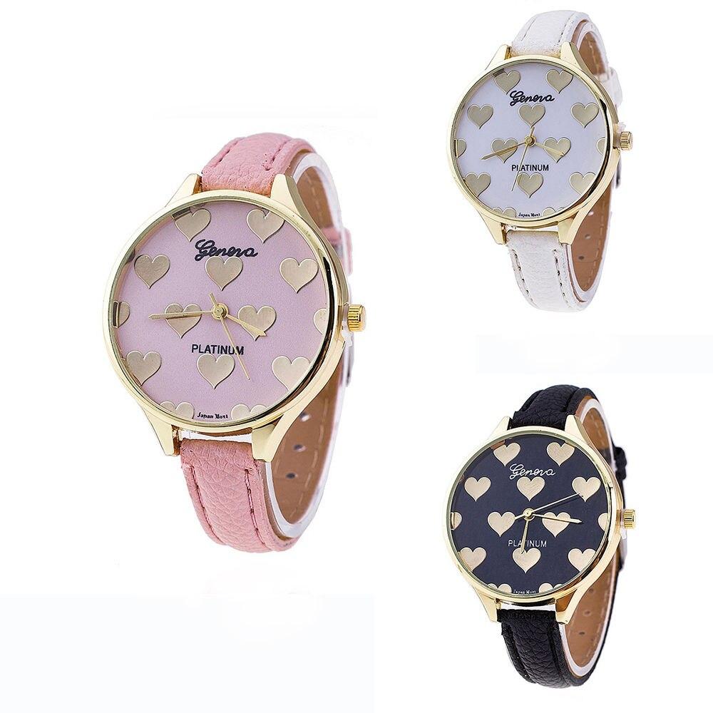New Fashion Leather Strap Women Geneva Watch Hot Casual Love Heart Watch Lady Girls Quartz Wristwatches cute love heart hollow out bracelet watch for women