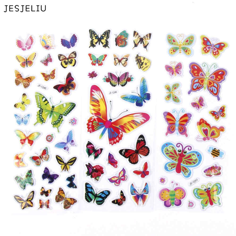 JESJELIU 2 Sheets Colorful 3D Butterflies Cartoon Scrapbooking Bubble Puffy Stickers Kids jesjeliu 20x colorful polaroid masking