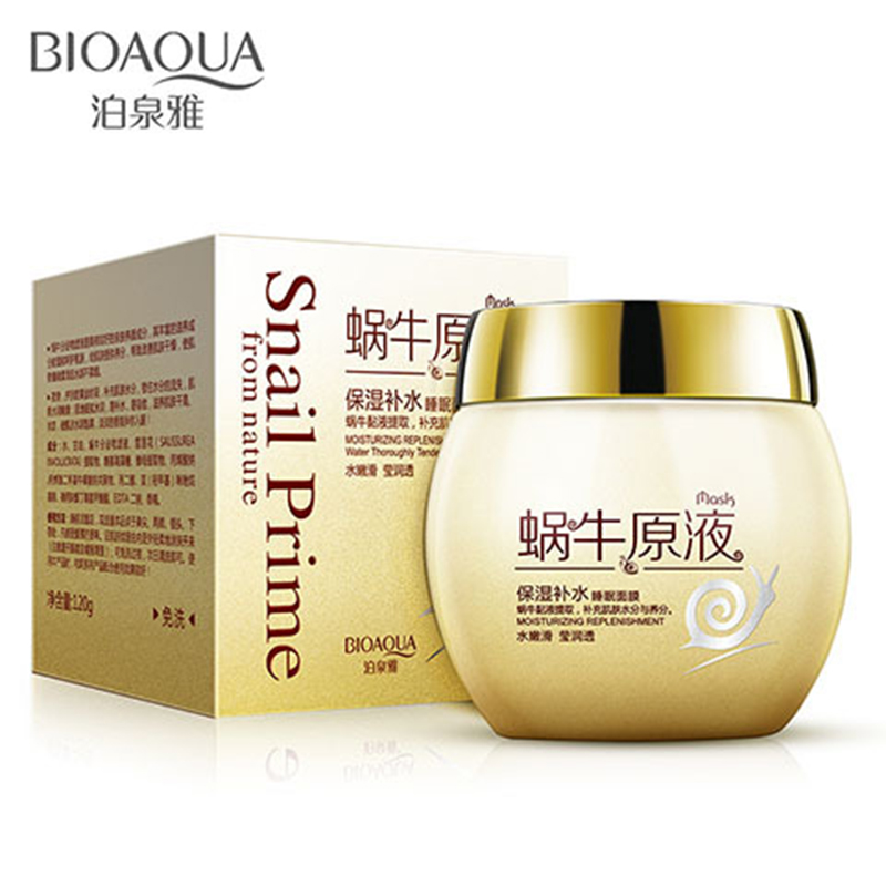 BIOAQUA Snail Essence Hydrating Sleep Mask Anti Wrinkle Oil Control Facial Mask Acne Treatment Shrink Pore Face Whitening Care