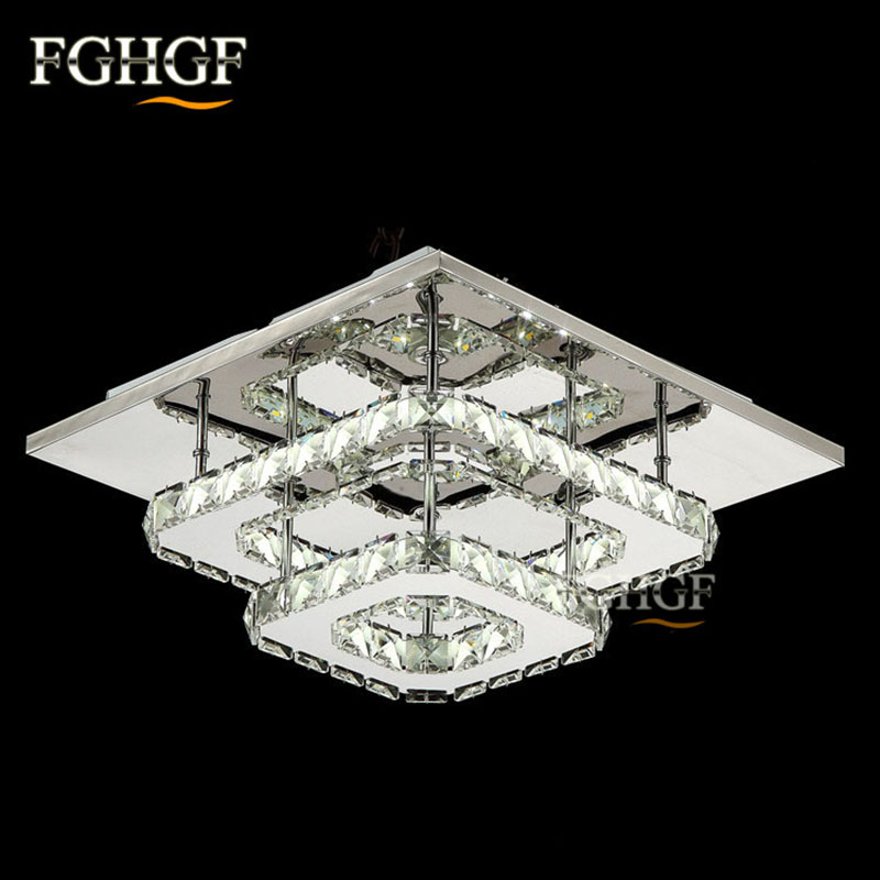 Modern  Crystal LED Ceiling light Square Lustre Luminarias Para Sala LED lamps for home aisle corridor balcony kitchen fixtures fumat modern minimalist bedroom ceiling light corridor balcony glass lampshade light kitchen round metal ceiling lamps