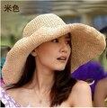 Вс женские головные уборы защита летнее солнце женщин-бич шляпы для женщин складной цилиндр равнина широкими полями для женщин с большими головами