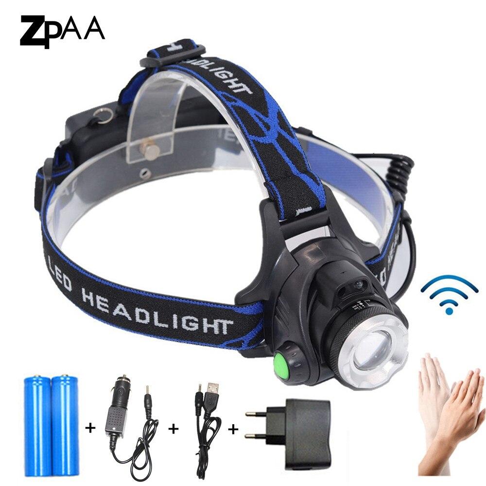 LED 5000LM XM-L T6 L2 Scheinwerfer Zoomable Scheinwerfer Wasserdicht Stirnlampe Taschenlampe Stirnlampe 18650 Batterie Angeln Jagd Licht