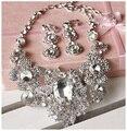 Новый Роскошный стеклянный кристалл ювелирные наборы ювелирные изделия ожерелье с серьги Женщины ювелирные изделия свадебный комплект Уха клип серьги