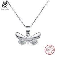 Женское Ожерелье ORSA, из серебра 925 пробы с подвеской в виде бабочки золотого цвета с фианитом ААА, SN89
