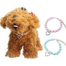 11e1b64d76d1 De moda para mascotas Coller cachorro perro gato Collar de perlas  accesorios para mascotas amor diamante