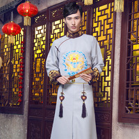 China Qing Dynasty Royal Manchu Prince Costume Garment male clothing uniforms robes dragon flag Outfit Chinese Ancient Costume