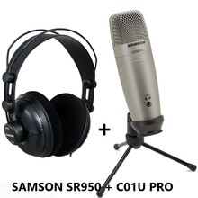 Samson C01u Pro Condenser Real-time Monitoring Microphone With Studio Monitor Headphone Sr950 For Broadcasting Music Recording